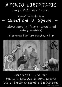 "[Firenze] presentazione ""Questioni di specie"" @ Ateneo Libertario | Firenze | Toscana | Italia"